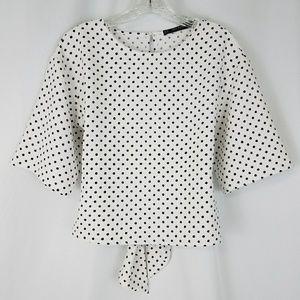 Zara xs crepe wide sleeve tie back blouse